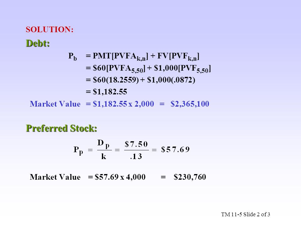 Debt: Preferred Stock: SOLUTION: Pb = PMT[PVFAk,n] + FV[PVFk,n]